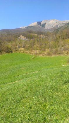 Monte Ventasso visto dal fiume Secchia a valle di Busana