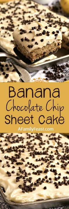 Banana Chocolate Chip Sheet Cake with Cream Cheese Frosting - Easy, moist and delicious! Easily the best sheet cake you'll ever make. Mini Desserts, Easy Desserts, Delicious Desserts, Dessert Recipes, Yummy Food, Yummy Treats, Sweet Treats, Weight Watcher Desserts, Cupcakes