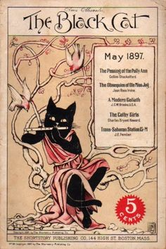 """""""The Black Cat"""" magazine - May 1897 - Cover by Nelly Littlehale Umbstaetter"""