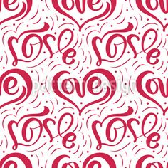 One Line Love Repeat Pattern by Galyna Tymonko at patterndesigns.com Vector Pattern, Pattern Design, Line Love, Typography, Lettering, Repeating Patterns, Letterpress, Letterpress Printing, Drawing Letters