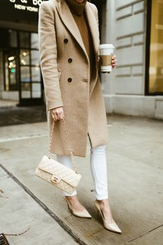 Camel Coat, White Denim, Spring Style, Chanel Bag, Classic Spring Look