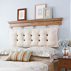 diy headboard shelf made with moulding and upholstered backrest