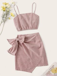 Pinstripe Shirred Back Cami Top & Knot Overlap Skirt Set Cute Girl Outfits, Girly Outfits, Cute Casual Outfits, Pretty Outfits, Girls Fashion Clothes, Teen Fashion Outfits, Girl Fashion, Two Piece Dress, Two Piece Outfit