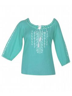 Aqua Embroidered Peasant Top