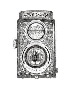 West Coast Cam - Original West Coast Vintage Film Camera Illustration Print by Danielle Brufatto