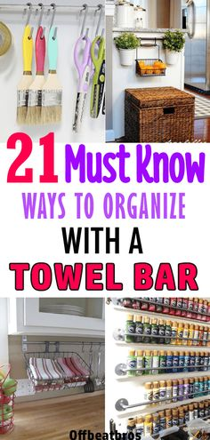 Do you know towel bars are a great way to keep your home organized on a budget? Towel bars organization ideas are so varied that you can organize any room of your house with towel bars fast and easy. These home organization hacks using towel bars are must Organisation Hacks, Small Space Organization, Kitchen Organization, Towel Organization, Home Organization Tips, Clutter Organization, Container Organization, Kitchen Storage, Diy Organizer