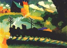 Wassily Kandinsky, Murnaü : train et château (1909) Contraste entre le train et l'arrière plan