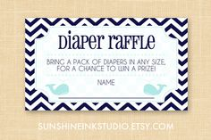 Preppy Little Whale Baby Shower Diaper Raffle Ticket Printable PDF Digital File INSTANT DOWNLOAD