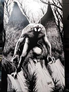 Horror Artwork, Supernatural Beings, Mothman, Urban Legends, Sign Printing, Drawing Sketches, Drawing Tips, Drawing Ideas, Art Drawings