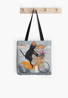 Amsterdam Bicycle Ride Cat Folk Art Tote Bag by KilkennycatArt