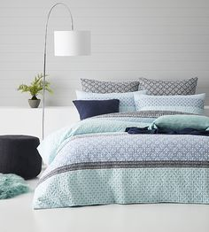 Treviso Quilted Ocean Quilt Cover