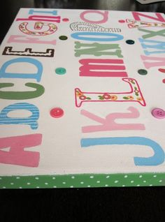 Brooke ABC's Nursery Kids Wall Art by CuteAsAButtonArt on Etsy, $35.00