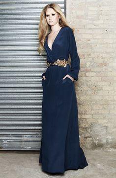 Vestido de seda con escote y cinturón - Silk dress with belt | SAYAN
