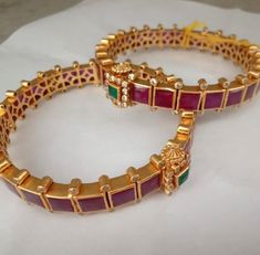 & Temple Pair of Bangles (Open Style Kada) in Silver and Gold Polish with Ruby' Traditional & Temple Pair of Bangles Open Style Kada in Gold Bangles Design, Gold Jewellery Design, Silver Jewelry, Silver Rings, Crystal Jewelry, Bridal Jewelry, Jewelry Party, Antique Jewelry, Ruby Bangles