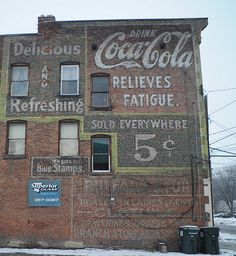 Coca Cola Sign - Vintage typography on old buildings. - foreverjoy designs