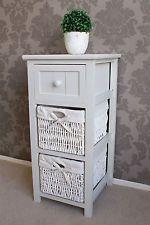 Whitehaven 3 Drawer Wicker Bedside Basket Storage Rattan Lamp Cabinet Farmhouse