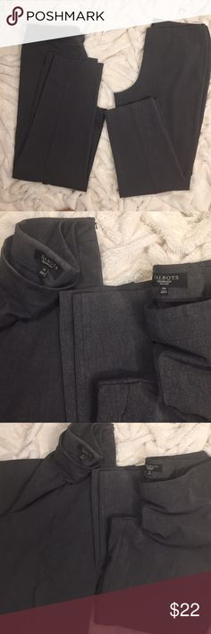 Talbots's gray dress trousers - two pair bundle Purchase both of these or separately.  They're both side zip trousers in gray Poly blend.  Left is a Classic Fit 14 and on right is a Heritage petite. Both sized 14 and excellent condition -  photo w side by side shows differentiated length - and the petite could be worn as crops!! Talbots Pants Trousers