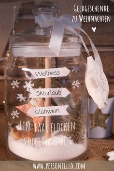 Money gift biscuit jar as winter landscape - Christmas money gifts are . - Money gift biscuit jar as a winter landscape – Christmas money gifts are …, - Noel Christmas, Christmas Presents, Don D'argent, Winter Landscape, Christmas Landscape, Star Shape, Creative Gifts, Biscuits, Pots