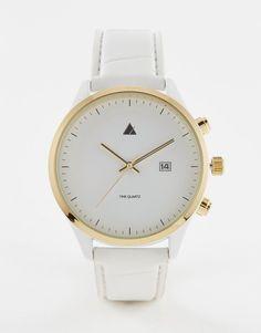 Mega fede ASOS Watch In White And Gold With Date Window - White ASOS Ure til Herrer i lækker kvalitet