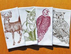Set of Four Cloth Dinner Napkins $24 Click Here : https://www.etsy.com/listing/204433695/cloth-dinner-napkins-eco-friendly-screen?utm_source=Pinterest&utm_medium=PageTools&utm_campaign=Share