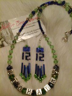 Seattle Seahawks Crystal & VINTAGE BUGLE 12th by theNATIVEBEADshop, $39.99