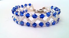 Easy Tutorial on Making a Cute Blue and White  Bead Bracelet for Spring ...