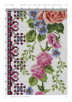 Cross Stitch Rose, Cross Stitch Flowers, Cross Stitch Embroidery, Cross Stitch Patterns, Baby Dress Patterns, Needlework, Quilts, Handmade, Pink Tablecloth