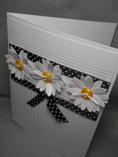 Homemade Cards Discover Daisy daisy card three dimensional daisies white daisies daisy greeting card embossed daisies with button centers blank inside Handmade Greetings, Greeting Cards Handmade, Sunflower Cards, Embossed Cards, Stamping Up Cards, Handmade Birthday Cards, Cute Cards, Pretty Cards, Homemade Cards