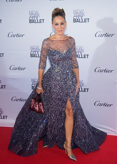 Pin for Later: If You're Looking For an Excuse to Dress Up This Weekend, This Is It Sarah Jessica Parker SJP had a Carrie Bradshaw moment at the New York City Ballet Fall Gala, walking the red carpet in a sparkly Zuhair Murad gown.