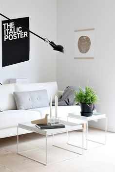 Scandinavian style living room. Karlstad sofa, Hay Tray tables, Flos lamp