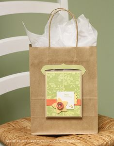 What a great idea for displaying your card on a gift bag and not needing an envelope! She sells the dies for this...
