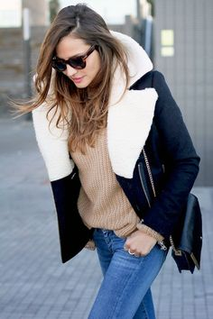 Le Fashion Blog Blogger Style Shearling Jacket Camel Knit Skinny Jeans Via Lady Addict