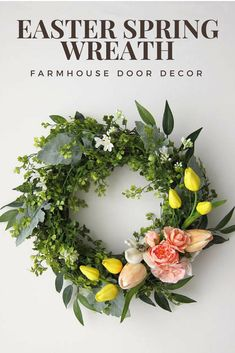 Easter Spring Farmhouse Wreath #affiliate #farmhouse #modern #Easter #spring #wreath #tulip #flowers #greenery #home #decor #door