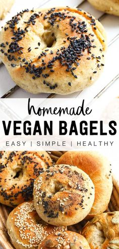 These easy homemade vegan bagels are perfect for a quick breakfast on the go, simple lunch, or even great for dinner. You can make them a variety of ways to fit any meal! Whether you want something sweet or savory, this delicious and chewy bread is very versatile and goes great with almost anything! Spread your favorite plant based cream cheese, vegan butter, or homemade jelly or jam! Turn it into a bagel sandwich filled with your favorite vegetables for a healthy meal. Get creative with it! Delicious Vegan Recipes, Healthy Breakfast Recipes, Brunch Recipes, Vegetarian Recipes, Healthy Breakfasts, Brunch Ideas, Vegan Meals, Veggie Recipes, Vegan Food