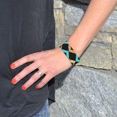 Bracelet en perles de rocaille, noir, turquoise, doré, large, tendance, été, ethnique, bohostyle, fait main, handmade, Guatemala
