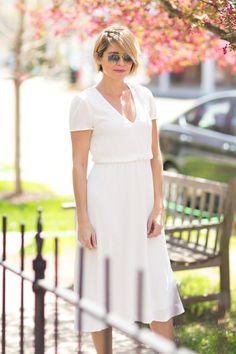 White midi dress | Seersucker. + Saddles