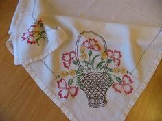 I just listed Vintage Embroidered Linen Tablecloth, Flower Basket, Red and Yellow Flowers on The CraftStar @TheCraftStar #uniquegifts