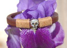 Pulsera#cuero regaliz#calavera#gemma's#complementos#bracelet