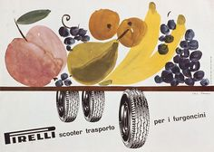 Poster advertisement for Pirelli scooter tyres by Lora Lamm, 1960…