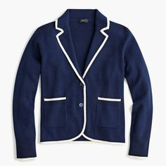 Shop J.Crew for the Schoolboy sweater-blazer for Women. Find the best selection of Women Clothing available in-stores and online. Navy Sweaters, Cashmere Sweaters, What Is Fashion, Crew Clothing, School Boy, Blazer Fashion, Blazers For Women, I Dress, Mens Suits