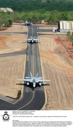 F/A-18F's of 1 Squadron RAAF - taking part in their first operational exercise at RAAF Tindal. The F models are filling the role of Strike and Electronic Warfare.