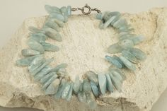 Selected, Natural, Genuine and Chunky Light Blue Carnelian Bracelet with Sterling Silver Clasp by BlueFoxy on Etsy