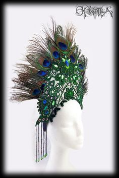Emerald & Absinthe Green Peacock Feather Headdress by Hexotica.
