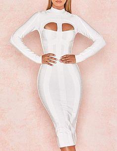 ANGGREK Womens Vintage Bodycon Slim Dress Bowknot Elegant Ruffle Stand Collar Long Sleeve Business Pencil Dress