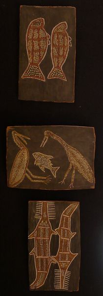 LOT 3018  GROOTE EYLANDT BARK   West Wind 1950s   natural earth pigments on bark   28 x 45cm   Estimate $600-800 Earth Pigments, Old Names, Vintage Interiors, Auction Items, Natural Earth, Black Backgrounds, Thursday, 1950s, Old Things