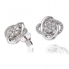 Beautiful Diamond Swirl Stud Earrings 0.55ct in White Gold.