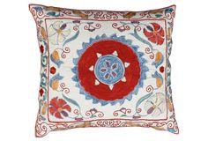 One Kings Lane - Uzbek Silk Sham w/ Intricate Pattern