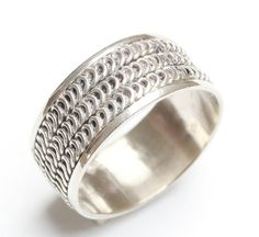 One, Vintage Bali Sterling Silver 925 Wide band ring size UK: R-S  / USA - 8.5  - please refer to images for guidance