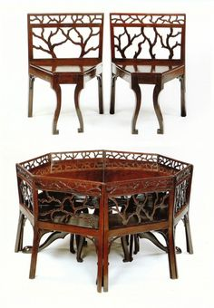 DINING TABLE AND EIGHT CHAIRS English. Circa 1760.