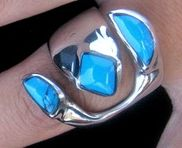 Atlantic Ocean - Turquoise adjustable Ring expert lapidary inlay work, set in fine pewter silver alloy.Feel the colour in your fingers, a piece of Mexico near your heart.
